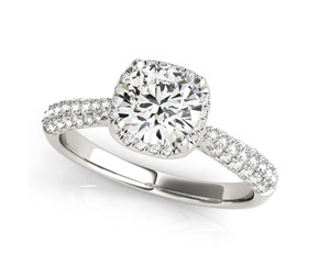 14k White Gold Round Halo Graduated Pave Shank Diamond Engagement Ring (1 1/3 cttw)