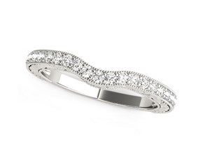 14k White Gold Antique Style Milgrained Curved Diamond Wedding Ring (1/4 cttw)