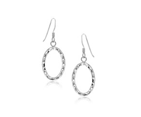 Textured Open Oval Drop Style Earrings in Sterling Silver