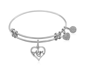 Expandable White Tone Brass Bangle with M-Heart-M Symbol