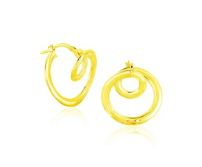 14k Yellow Gold Textured Coil Style Hoop Earrings