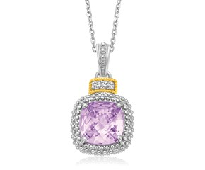 Amethyst and Diamond Popcorn Motif Cushion Pendant in 18k Yellow Gold and Sterling Silver (.02cttw)