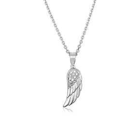 Sterling Silver with Textured Angel Wing Pendant