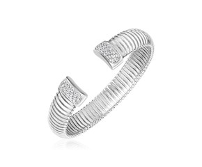 Sterling Silver Serpentine Style Cuff Bangle with Cubic Zirconias