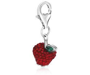 Apple Multi Tone Crystal Studded Charm in Sterling Silver