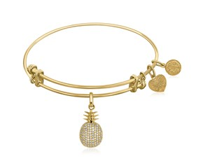 Expandable Yellow Tone Brass Bangle with Pineapple Symbol with Cubic Zirconia