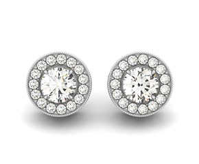 Round Halo Diamond Earrings with Milgrain Border in 14k White Gold (3/4 cttw)
