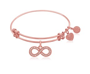 Expandable Pink Tone Brass Bangle with Infinity Symbol with Cubic Zirconia