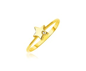 14k Yellow Gold Polished Star Ring with Diamond