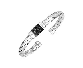 Woven Rope Cuff Bracelet with Black Sapphire Accents in Sterling Silver