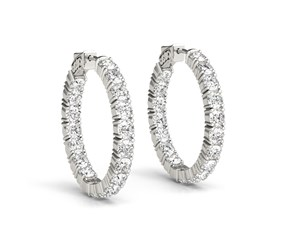 Inside Outside Diamond Hoop Earrings in 14k White Gold (3 1/2 cttw)