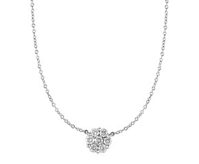 14k White Gold Necklace with Round Pendant with White Diamonds