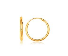 10k Yellow Gold Polished Endless Hoop Earrings (16mm Diameter)