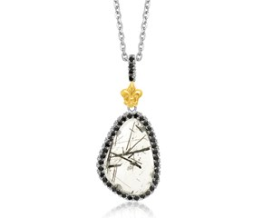 Fancy Rutilated Quartz and Black Spinel Fleur De Lis Pendant in 18K Yellow Gold and Sterling Silver
