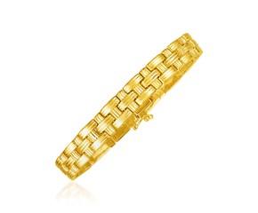 14k Yellow Gold Basket Weave Bracelet