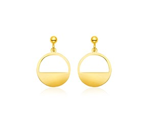 14k Yellow Gold Half Open Circle Earrings