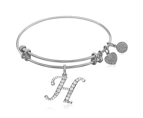 Expandable White Tone Brass Bangle with H Symbol with Cubic Zirconia