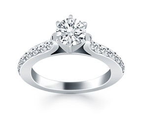 Curved Shank Engagement Ring with Pave Diamonds in 14k White Gold