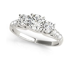 14k White Gold Trellis Set 3 Stone Round Diamond Engagement Ring (1 1/8 cttw)