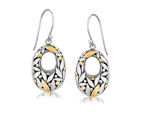 Open Oval Leaf Accented Drop Earrings in 18k Yellow Gold and Sterling Silver