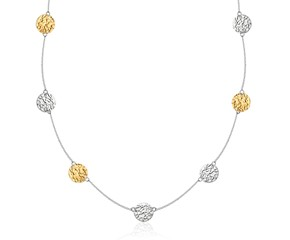 "Reticulated Disc 32"" Station Necklace in 14k Yellow Gold & Sterling Silver"