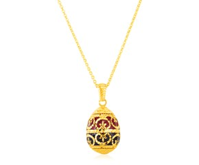 14K Yellow Gold Necklace with Red and Black Enameled Egg