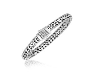White Sapphire Embellished Fancy Braided Men's Bracelet in Sterling Silver