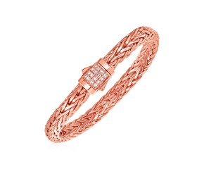 White Sapphire And Rose Gold Vermeil Embellished Mens Braided Style Bracelet in Sterling Silver