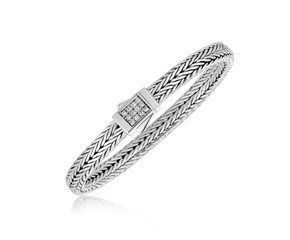 Braided White Sapphire Accented Box Clasp Men's Bracelet in Sterling Silver