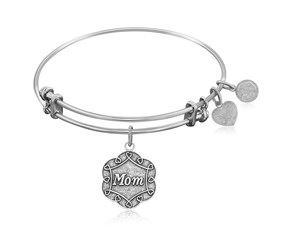 Expandable White Tone Brass Bangle with Mom Symbol