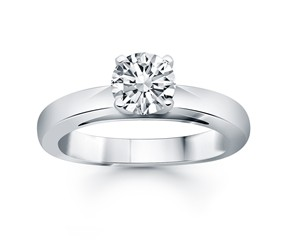 Classic Wide Band Cathedral Solitaire Engagement Ring in 14k White Gold