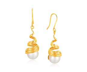 Cultured Pearl Filament Spiral Earrings in 14k Yellow Gold