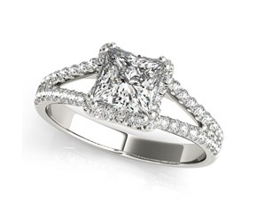 14k White Gold Princes Cut Halo Split Shank Diamond Engagement Ring (2 cttw)