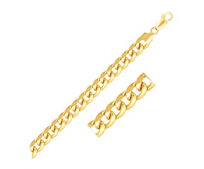 Solid Miami Cuban Bracelet in 14k Yellow Gold (6.7mm)