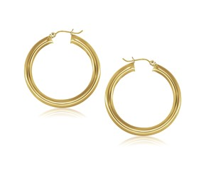 Classic Hoop Earrings in 14k Yellow Gold (40mm Diameter) (5.0mm)