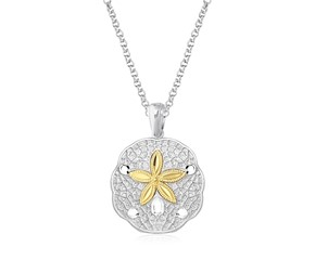 Sand Dollar Pendant in Sterling Silver and 14K Yellow Gold