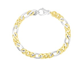 Figaro Chain Men's Bracelet in 14k Two-Tone Gold