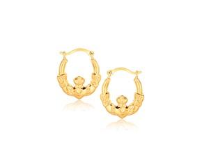 Claddagh Motif Hoop Earrings in 10k Yellow Gold