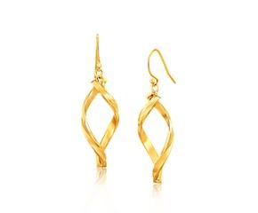 Fancy Flat Twisted Oval Dangling Earrings in 14k Yellow Gold