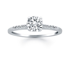 Engagement Ring with Pave Diamond Band Design in 14k White Gold