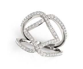 Diamond Interlinked Band Style Ring in 14k White Gold (3/4 cttw)