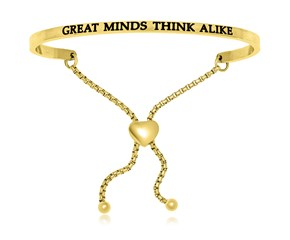 Yellow Stainless Steel Great Minds Think Alike Adjustable Bracelet