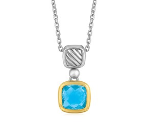 Cushion Blue Topaz Pendant Necklace in 18K Yellow Gold and Sterling Silver