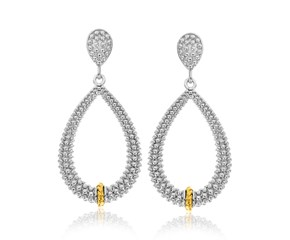 Graduated Teardrop Popcorn Earrings in 18k Yellow Gold and Sterling Silver