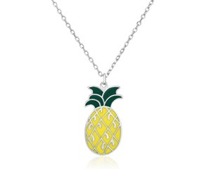 Sterling Silver 18 inch Necklace with Enameled Pineapple