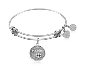 Expandable White Tone Brass Bangle with Grandma The Tie That Binds Symbol
