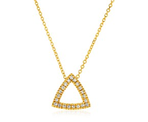 14k Yellow Gold 18 inch Necklace with Gold and Diamond Open Triangle Pendant (1/10 cttw)