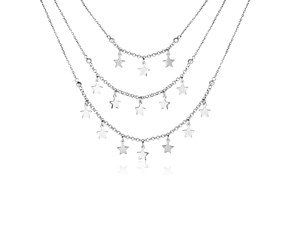 Sterling Silver Three Strand Necklace with Polished Stars