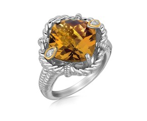 Cushion Whisky Quartz and Diamond Style Motif Ring in 18K Yellow Gold and Sterling Silver