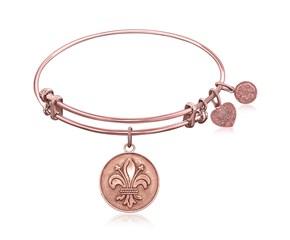 Expandable Pink Tone Brass Bangle with Fleur-De-Lis Symbol